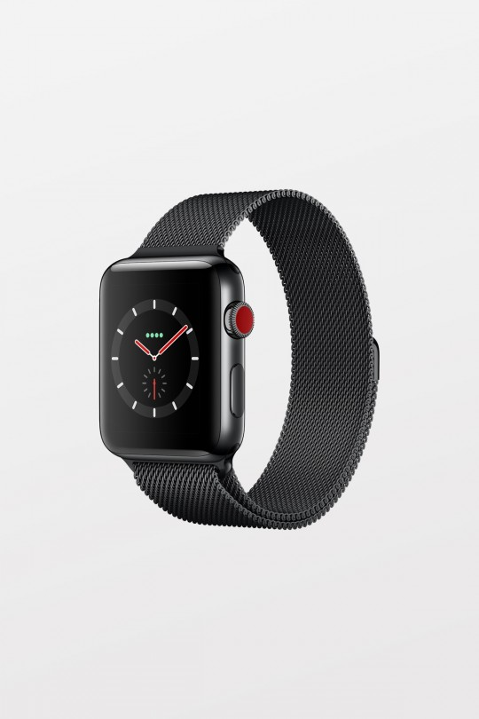 Apple Watch Series 3 GPS + Cellular - 42mm - Space Black Stainless Steel with Space Black Milanese Loop