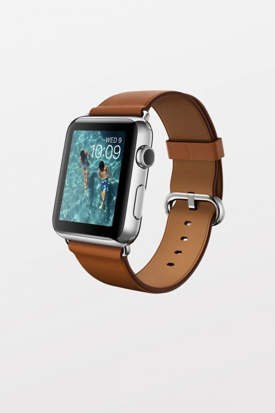 Apple Watch 42mm - Stainless Steel - Saddle Brown Classic Buckle - Refurbished