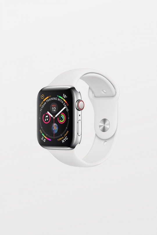 Apple Watch Series 4 Cellular - 44mm - Stainless Steel Case with White Sport Band