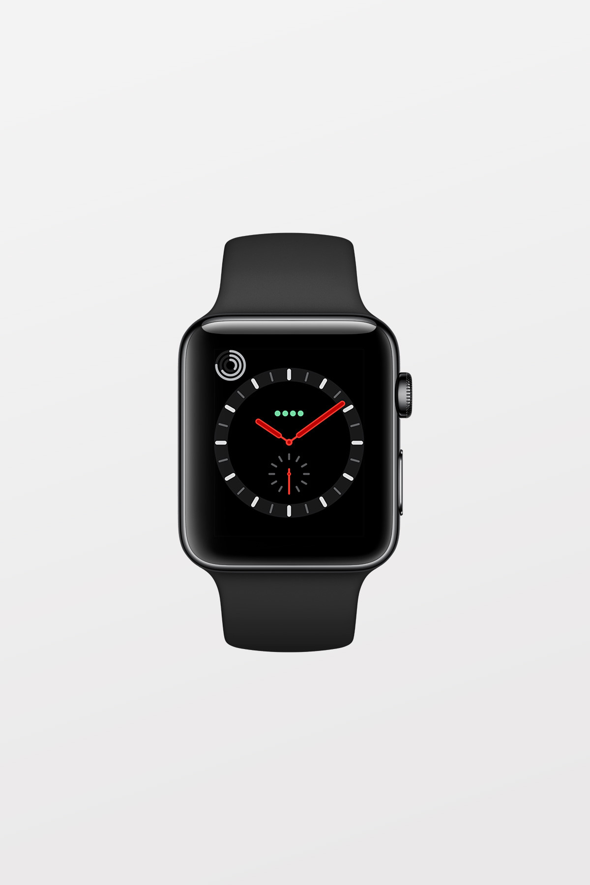 Apple Watch Series 3 GPS + Cellular - 42mm - Space Black Stainless Steel with Black Sport Band - Refurbished