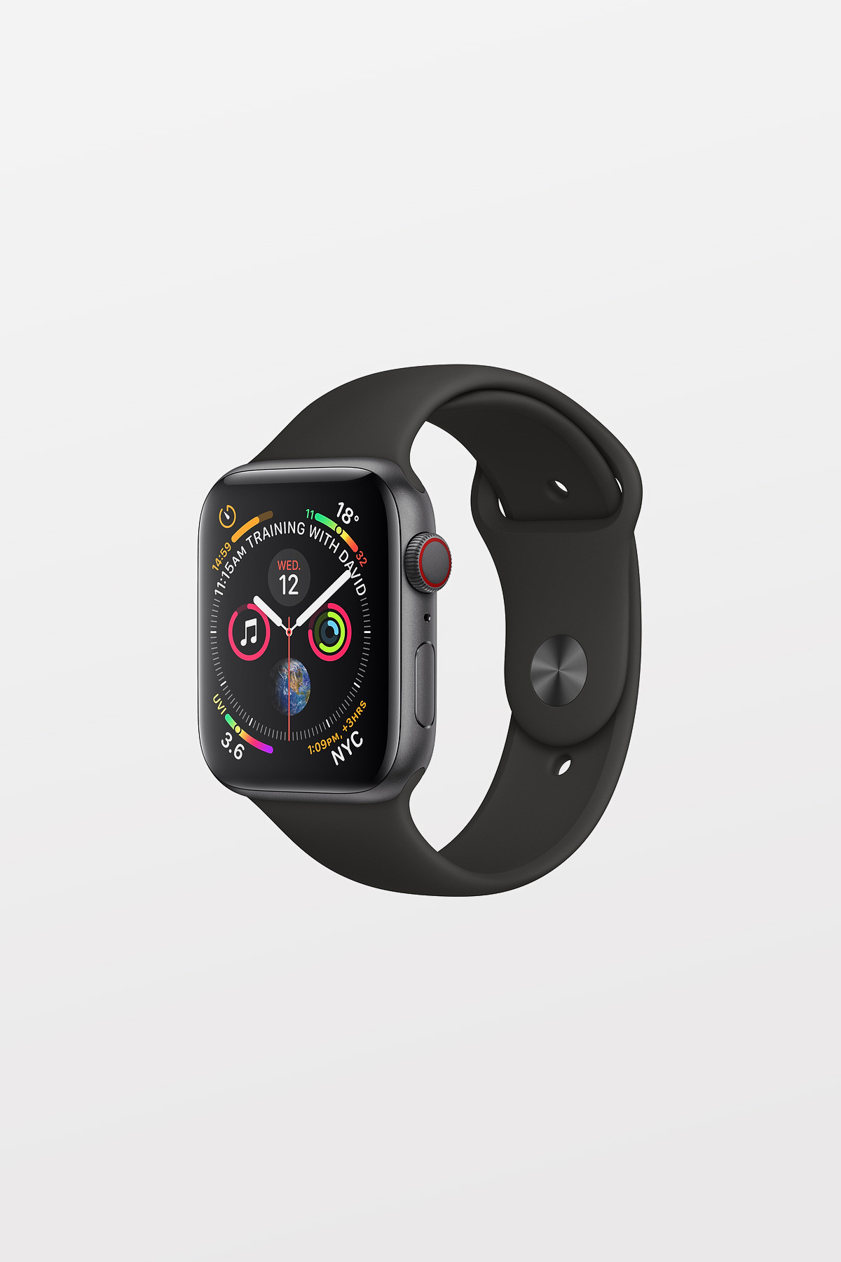 Apple Watch Series 4 Cellular - 44mm - Space Grey Aluminium Case with Black Sport Band