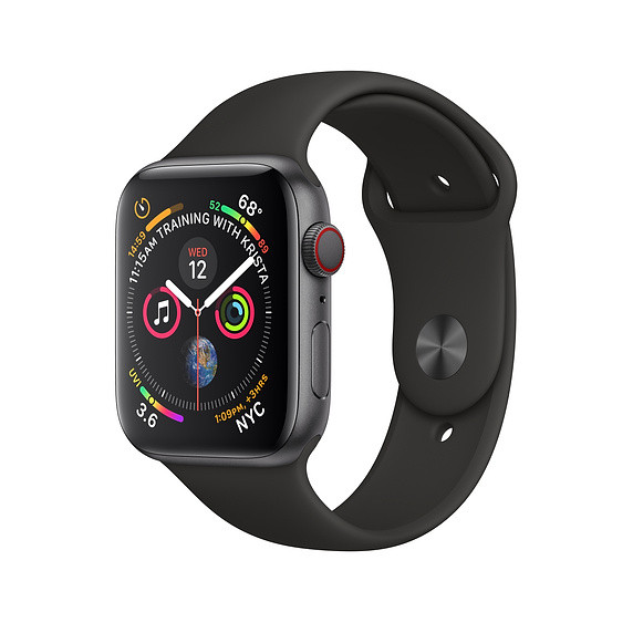 Apple Watch Series 4 GPS + Cellular - 44mm - Space Grey Aluminium Case with Black Sport Band - Refurbished
