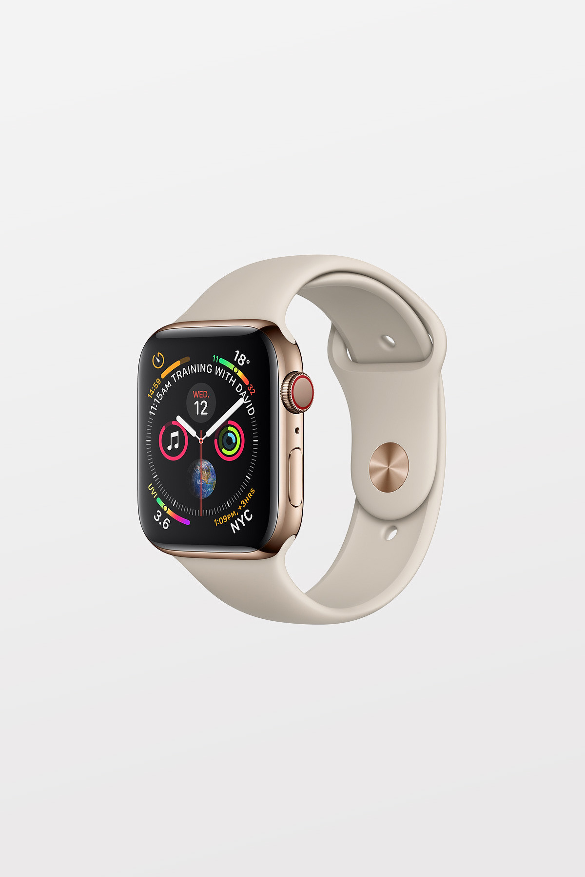 Apple Watch Series 4 Cellular - 44mm - Gold Stainless Steel Case with Stone Sport Band