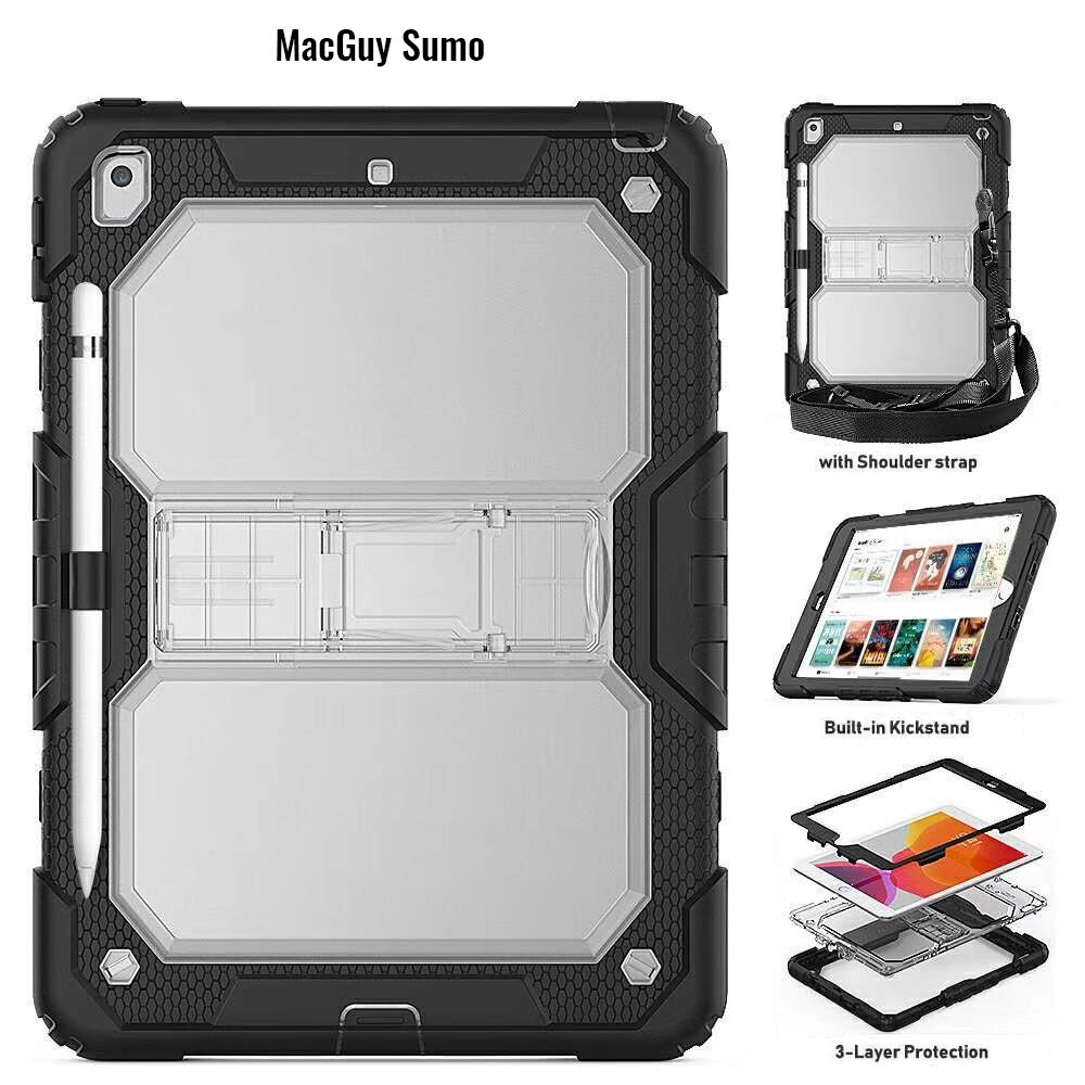 MacGuy SUMO Shockproof Case - Black with strap fits 4TH Gen iPad Air 10.9