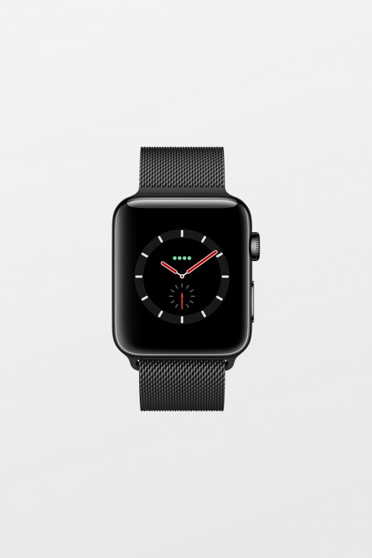 Apple Watch Series 3 GPS + Cellular - 38mm - Space Black Stainless Steel with Space Black Milanese Loop