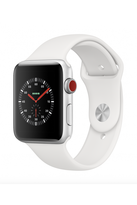 Apple Watch Series 3 GPS + Cellular - 38mm - Stainless Steel Case with Soft White Sport Band - Refurbished