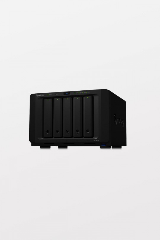 "Synology DiskStation DS1517+8GB 5-Bay 3.5"" Diskless 4xGbE NAS (Tower), Intel Atom Quad Core 2.4GHz, 8GB RAM, 4xUSB3, 2x eSATA, 3 Year Warranty"