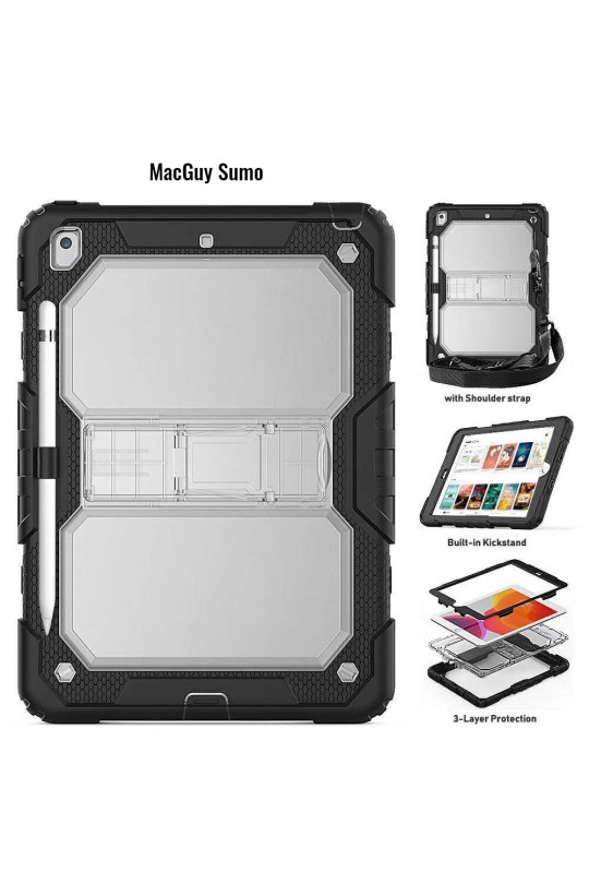 MacGuy SUMO Shockproof Case - Black with strap fits 4TH Gen iPad 12.9