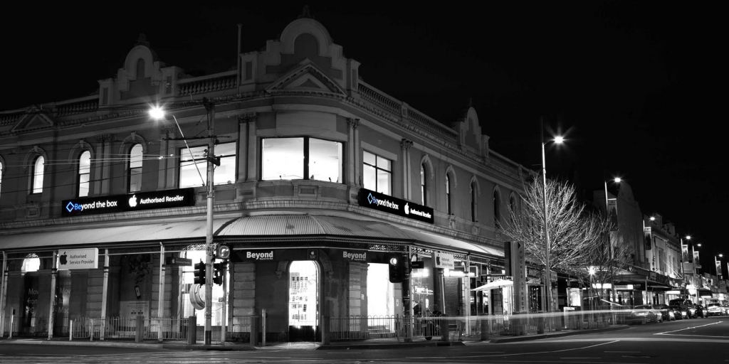 Beyond the Box - Location 1 Puckle Street, Moonee Ponds old victorian building picture taken at night